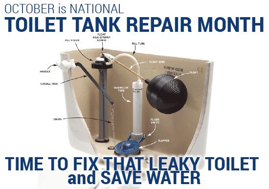October is National Toilet Tank Repair Month